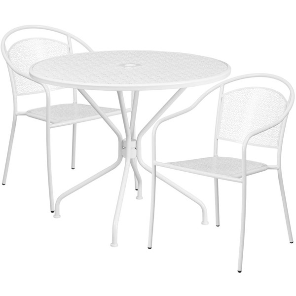 Flash Furniture White Round Patio 3pc Outdoor Dining Set FLF-CO-35RD-03CHR2-WH-GG