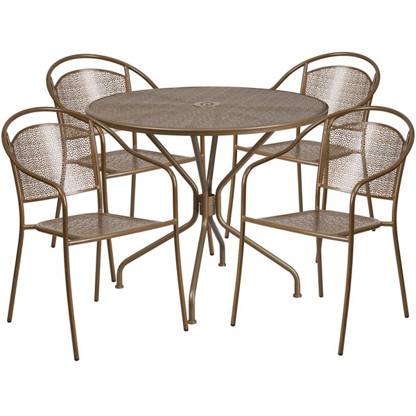 Flash Furniture Gold Round 5pc Outdoor Dining Set FLF-CO-35RD-03CHR4-GD-GG