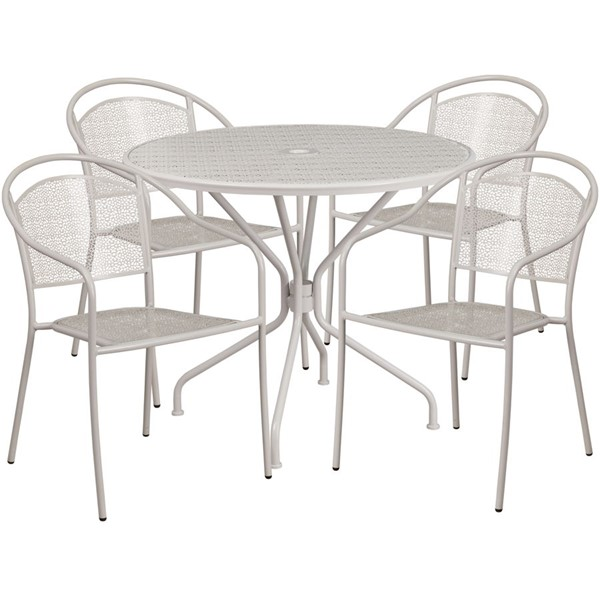 Flash Furniture Light Gray Round 5pc Outdoor Dining Set FLF-CO-35RD-03CHR4-SIL-GG