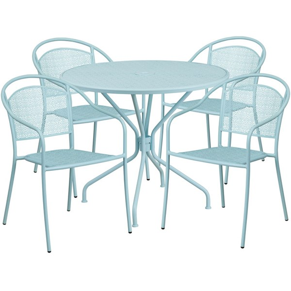 Flash Furniture Sky Blue Round 5pc Outdoor Dining Set FLF-CO-35RD-03CHR4-SKY-GG