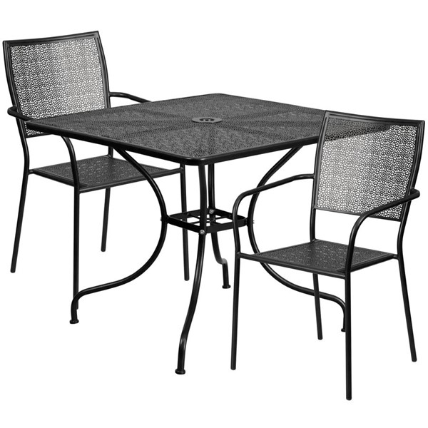 Flash Furniture Contemporary Black Square Patio Table Set FLF-CO-35SQ-02CHR2-BK-GG