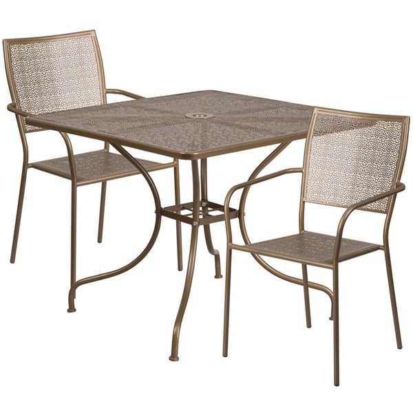 Flash Furniture Gold Square Patio Table Set FLF-CO-35SQ-02CHR2-GD-GG