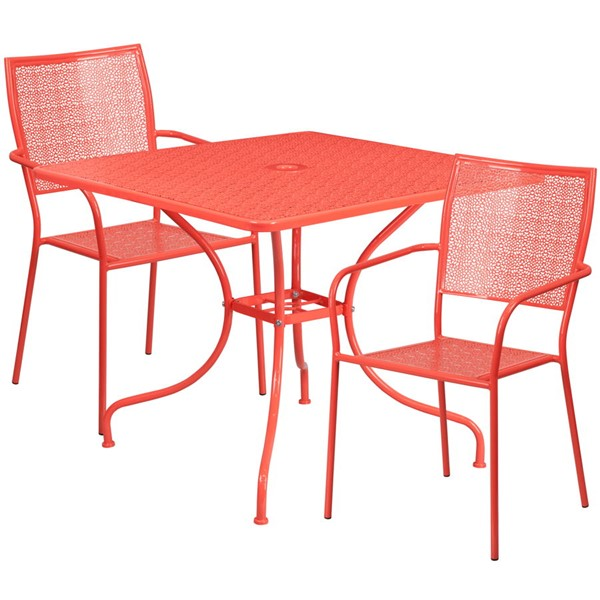 Flash Furniture Coral Square Patio Table Set FLF-CO-35SQ-02CHR2-RED-GG