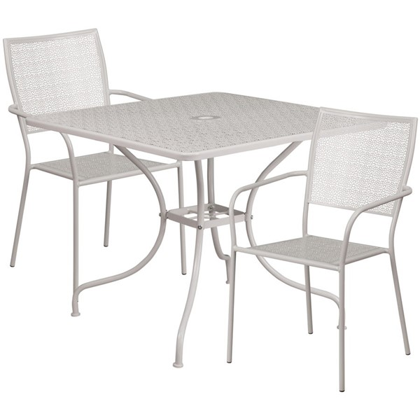 Flash Furniture Light Gray Square Patio Table Set FLF-CO-35SQ-02CHR2-SIL-GG