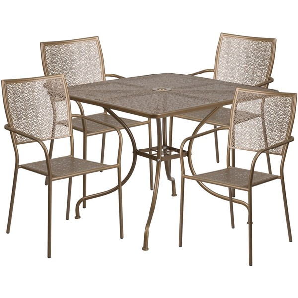 Flash Furniture Gold Square Patio 5pc Outdoor Dining Set FLF-CO-35SQ-02CHR4-GD-GG