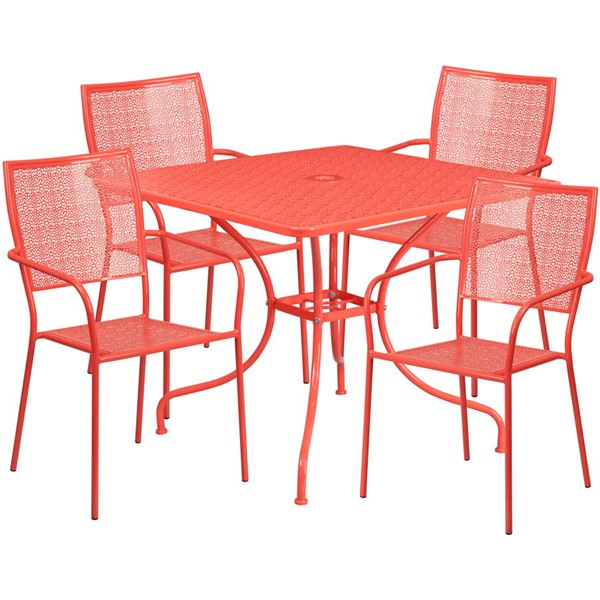 Flash Furniture Coral Square Patio 5pc Outdoor Dining Set FLF-CO-35SQ-02CHR4-RED-GG