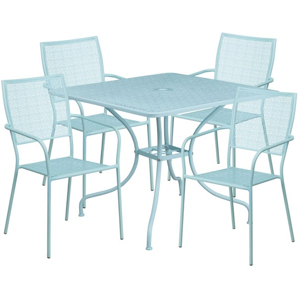 Flash Furniture Sky Blue Square Patio 5pc Outdoor Dining Set FLF-CO-35SQ-02CHR4-SKY-GG
