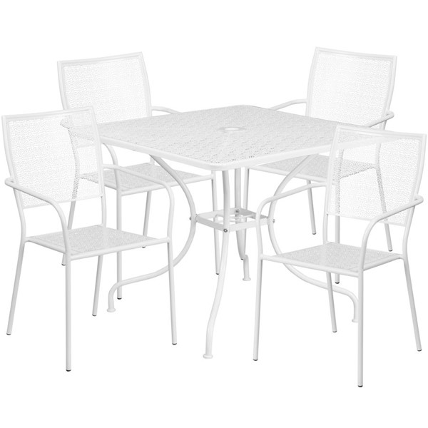 Flash Furniture White Square Patio 5pc Outdoor Dining Set FLF-CO-35SQ-02CHR4-WH-GG
