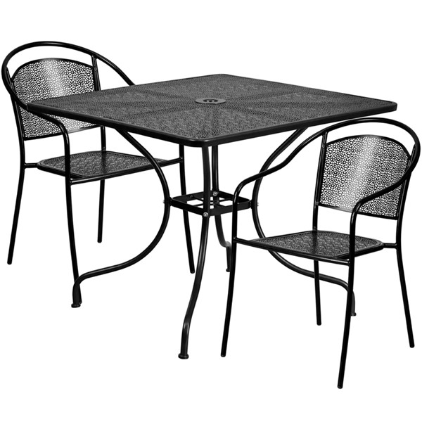 Flash Furniture Square Patio 3pc Outdoor Dining Set FLF-CO-35SQ-03CHR2-GG-OUT-DR-VAR