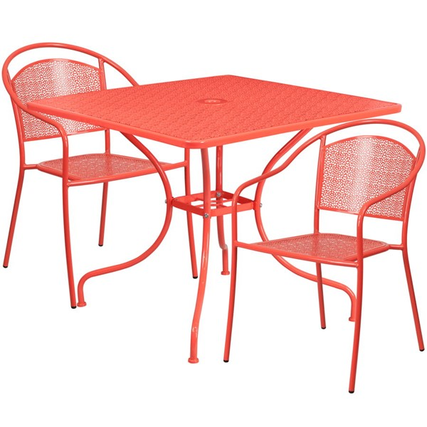 Flash Furniture Coral Square Patio 3pc Outdoor Dining Set FLF-CO-35SQ-03CHR2-RED-GG