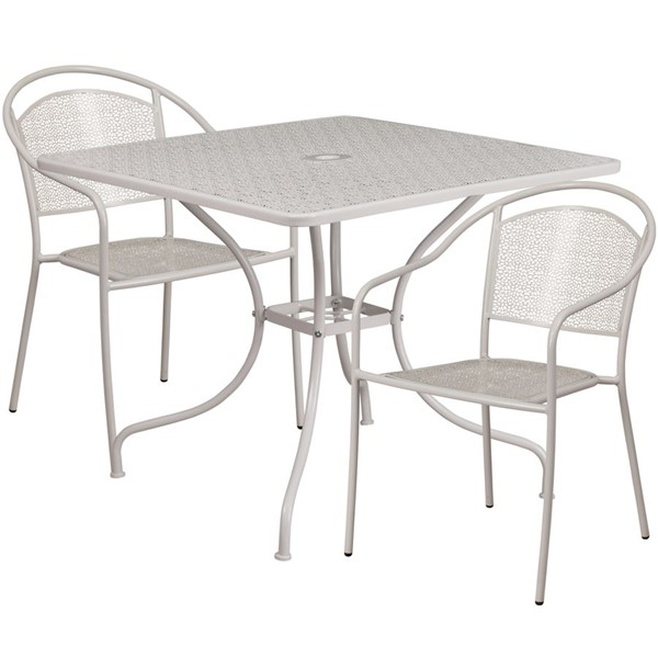 Flash Furniture Light Gray Square Patio 3pc Outdoor Dining Set FLF-CO-35SQ-03CHR2-SIL-GG