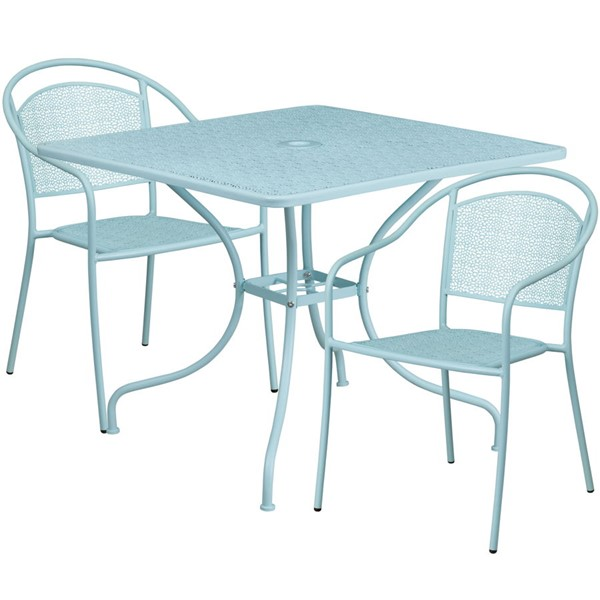 Flash Furniture Sky Blue Square Patio 3pc Outdoor Dining Set FLF-CO-35SQ-03CHR2-SKY-GG