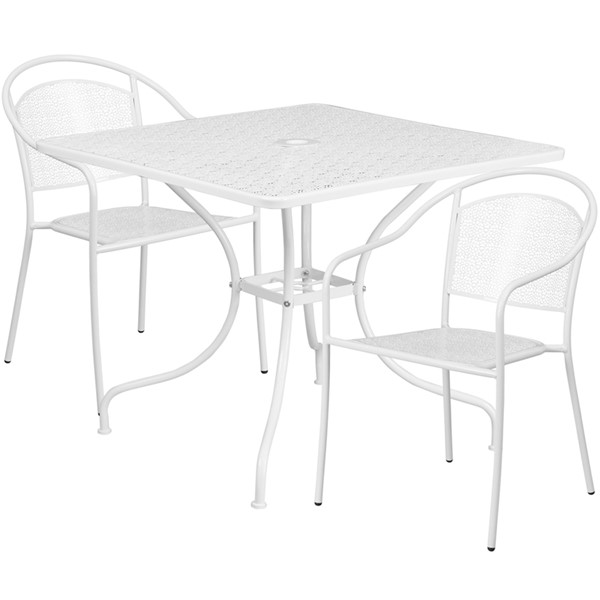 Flash Furniture White Square Patio 3pc Outdoor Dining Set FLF-CO-35SQ-03CHR2-WH-GG