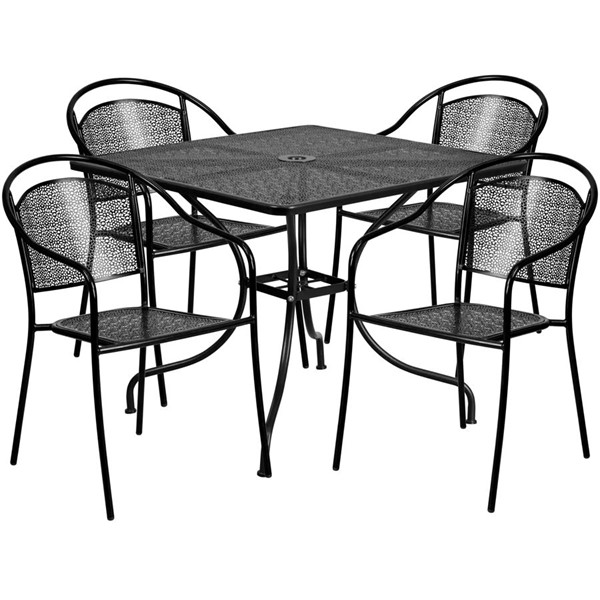 Flash Furniture Contemporary Black Square 5pc Outdoor Dining Set FLF-CO-35SQ-03CHR4-BK-GG