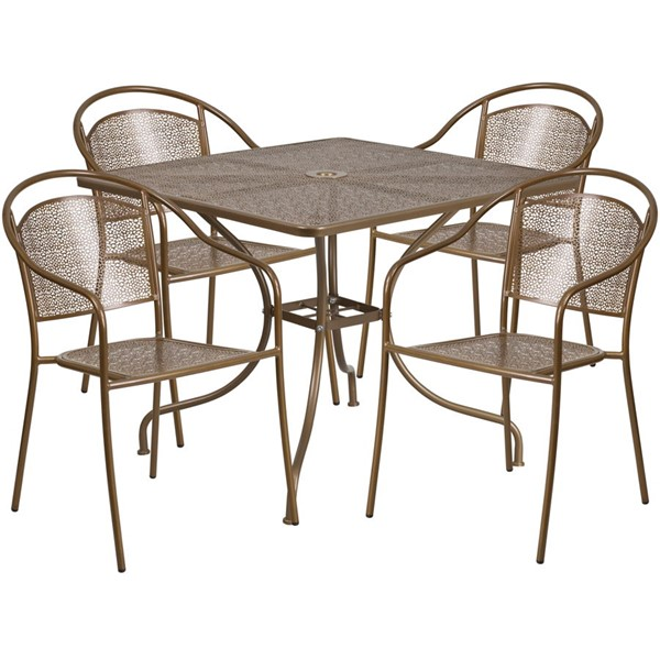 Flash Furniture Gold Square 5pc Outdoor Dining Set FLF-CO-35SQ-03CHR4-GD-GG