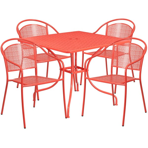 Flash Furniture Coral Square 5pc Outdoor Dining Set FLF-CO-35SQ-03CHR4-RED-GG