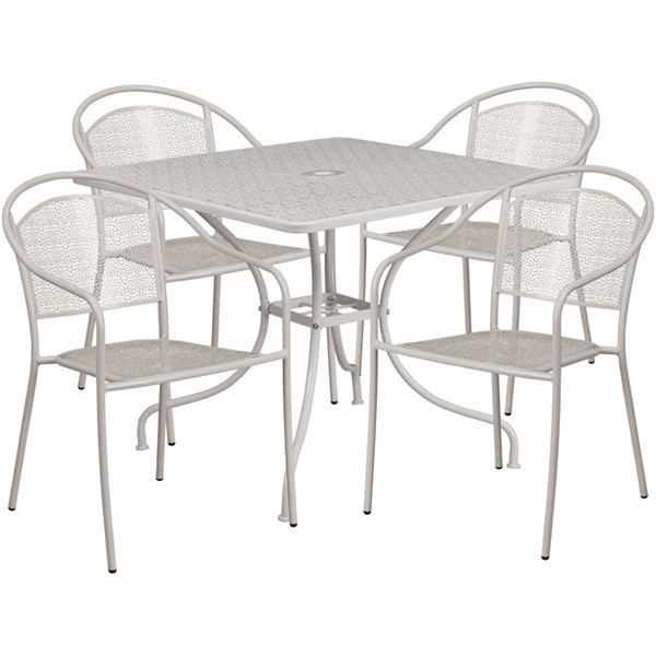 Flash Furniture Light Gray Square 5pc Outdoor Dining Set FLF-CO-35SQ-03CHR4-SIL-GG