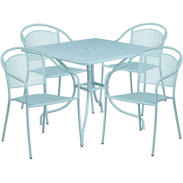 Flash Furniture Sky Blue Square 5pc Outdoor Dining Set FLF-CO-35SQ-03CHR4-SKY-GG