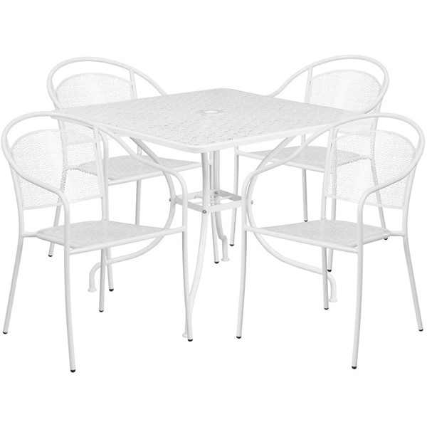 Flash Furniture White Square 5pc Outdoor Dining Set FLF-CO-35SQ-03CHR4-WH-GG