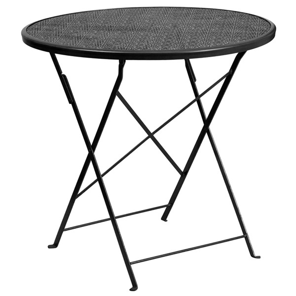 Flash Furniture Black Coral 30 Round Folding Patio Table FLF-CO-4-GG-OUT-DT-VAR