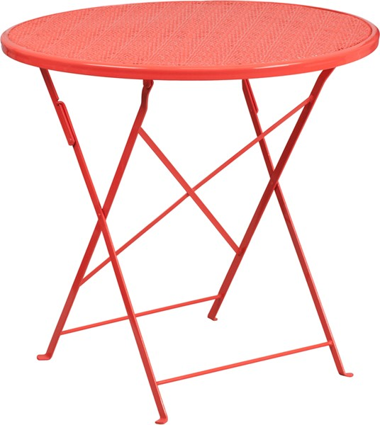 Flash Furniture Coral 30 Round Folding Patio Table FLF-CO-4-RED-GG