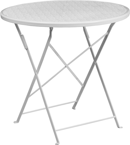 Flash Furniture White 30 Round Folding Patio Table FLF-CO-4-WH-GG