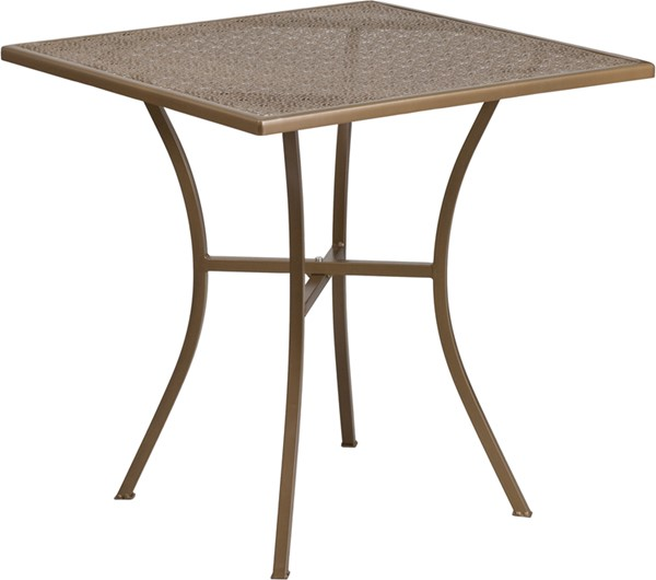 Flash Furniture Gold 28 Square Patio Table FLF-CO-5-GD-GG