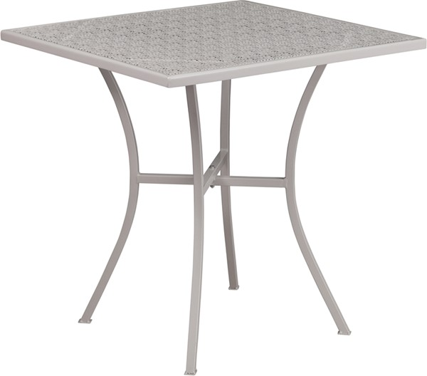 Flash Furniture Light Gray 28 Square Patio Table FLF-CO-5-SIL-GG