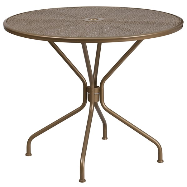 Flash Furniture Gold Round Patio Table FLF-CO-7-GD-GG