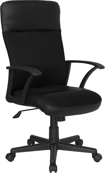 High Back Black Leather Mesh Combination Executive Swivel Office Chair FLF-CP-A142A01-GG