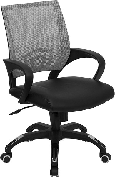 Mid-Back Gray Mesh Computer Chair w/Black Leather Seat FLF-CP-B176A01-GRAY-GG
