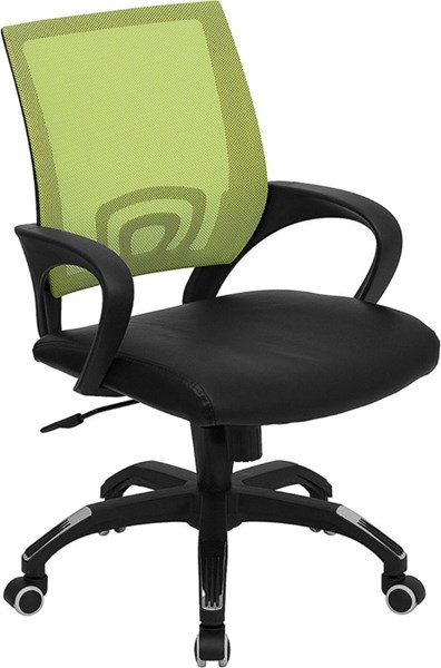 Mid-Back Green Mesh Computer Chair w/Black Leather Seat FLF-CP-B176A01-GREEN-GG