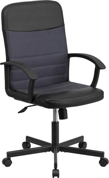 Mid-Back Black Vinyl & Gray Mesh Racing Executive Swivel Office Chair FLF-CP-B301A01-BK-GY-GG