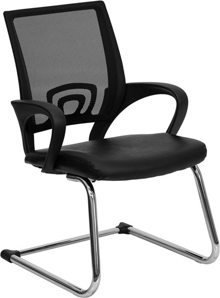 Black Leather Office Side Chair w/Black Mesh Back & Sled Base FLF-CP-D119A01-BK-GG