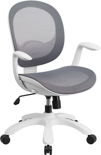 Mid-Back Gray Mesh Swivel Task Chair w/Seat Slider and Ratchet Back FLF-CS-55-GY-GG