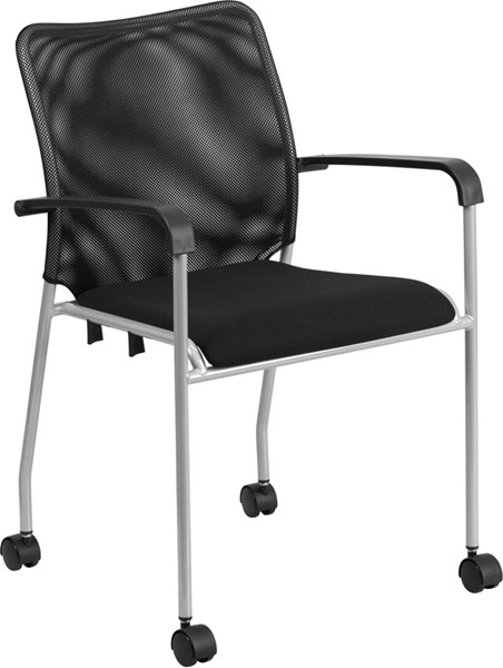 Stackable Black Mesh Side Chair w/Casters FLF-CY53-BK-GG