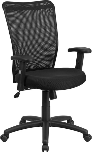 High Back Black Mesh Executive Ergonomic Swivel Office Chair with Arms FLF-CY54A-BK-A-GG