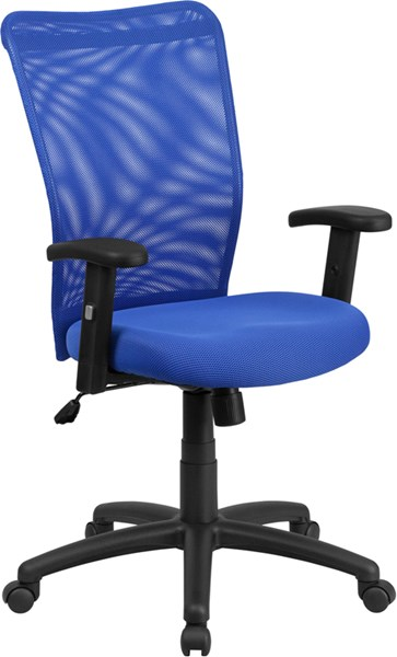 High Back Blue Mesh Executive Ergonomic Swivel Office Chair with Arms FLF-CY54A-BL-A-GG