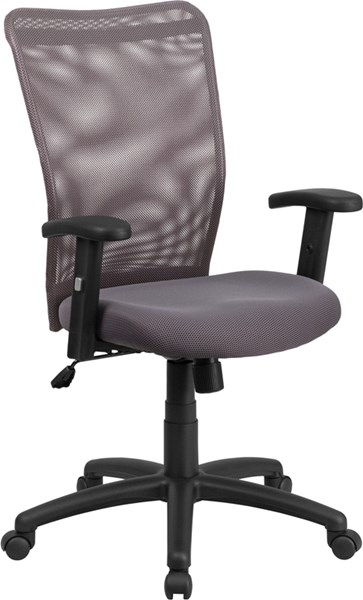 High Back Gray Mesh Executive Ergonomic Swivel Office Chair with Arms FLF-CY54A-GY-A-GG