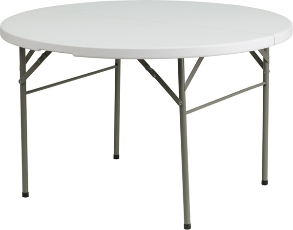 Flash Furniture Round Bi-Fold Granite White Plastic Folding Tables FLF-DAD-122-GG-KDSK-VAR