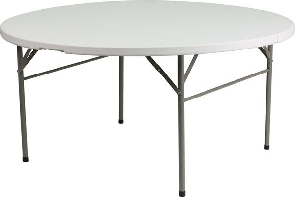 Flash Furniture 60 Inch Round Bi-Fold Granite White Plastic Folding Table FLF-DAD-154Z-GG