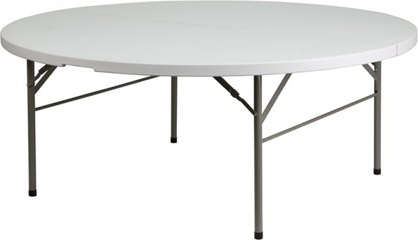 White Gray Metal Plastic 72 Inch Round Bi-Fold Table FLF-DAD-183RZ-GG