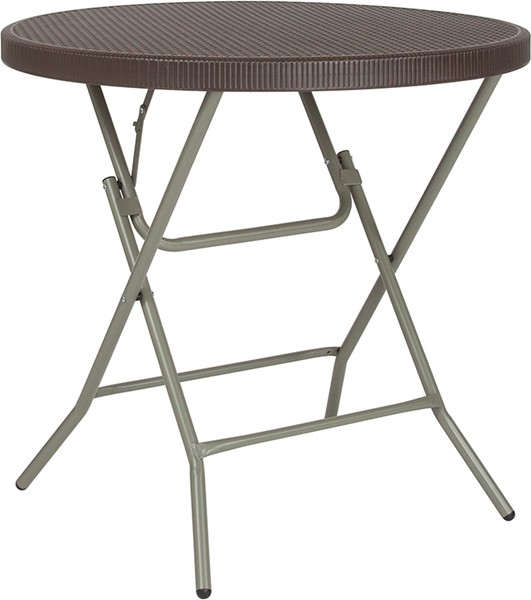 Flash Furniture Brown Round Rattan Fold Table FLF-DAD-FT-80R-GG