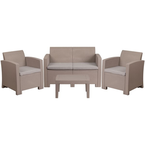 Flash Furniture Light Gray 4pc Outdoor Rattan Set FLF-DAD-SF-112T-CRC-GG