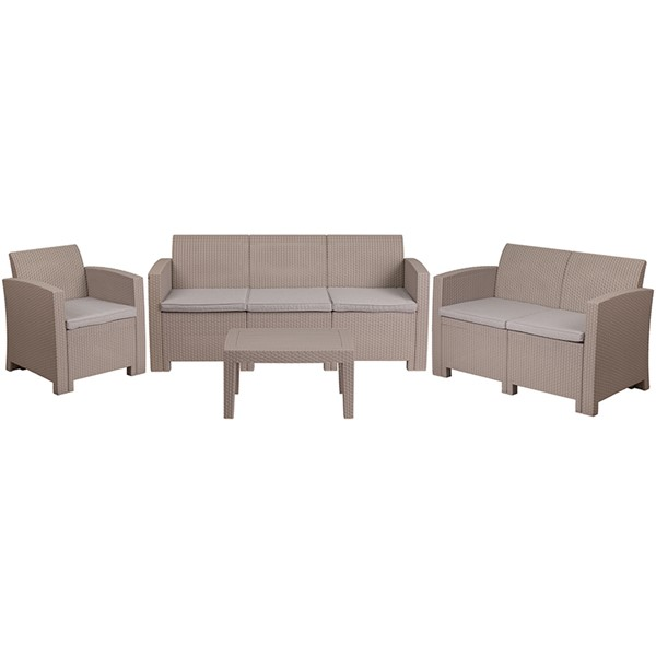 Flash Furniture Light Gray Fabric 4pc Outdoor Rattan Set FLF-DAD-SF-123T-CRC-GG
