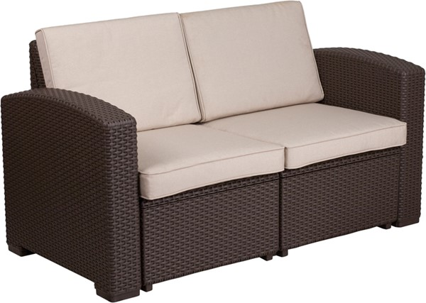 Flash Furniture Chocolate Brown Rattan Loveseat FLF-DAD-SF1-2-GG