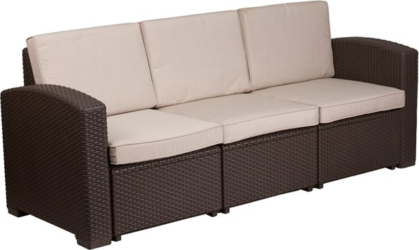 Flash Furniture Chocolate Brown Rattan Outdoor Sofa FLF-DAD-SF1-3-GG