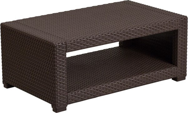 Flash Furniture Chocolate Brown Rattan Coffee Table FLF-DAD-SF1-R-GG