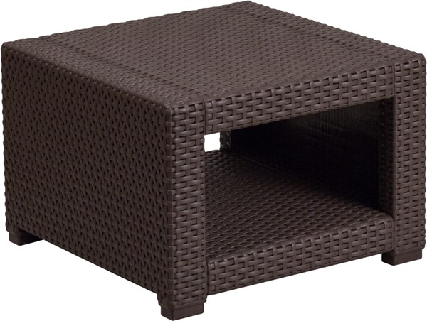 Flash Furniture Chocolate Brown Rattan End Table FLF-DAD-SF1-S-GG