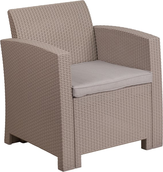 Flash Furniture Light Gray Rattan Outdoor Chair FLF-DAD-SF2-1-GG